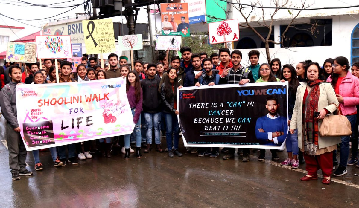 YouWeCan Volunteers at @ShooliniUniv, organised a street play and walkathon on the streets of Solan.  Despite the extreme weather conditions our volunteers went all out to spread awareness on cancer.  @YUVSTRONG12 @hazelkeech   #WorldCancerDay #YouWeCan #TogetherWeCan #Walkathon<br>http://pic.twitter.com/SOySvH6tOP
