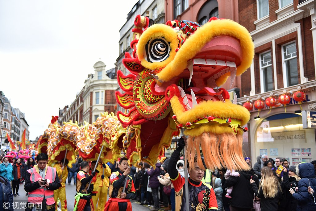 A dragon dance is performed at a parade in #London to celebrate the Chinese New Year #SpringFestival2019