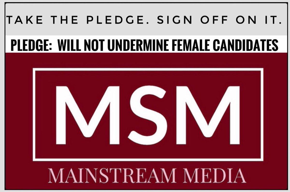 @MSNBC @CNN @CNNPolitics @HuffPost @politico @POLITICOMag @npr @VanityFair @latimes @nytimes.  Please take this pledge- don't Hillary any of the  2020 candidates.