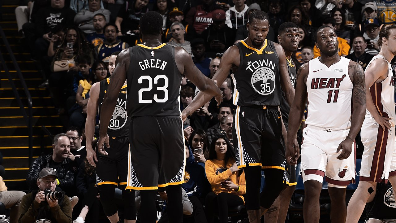 Durant y Green en el partido frente a Miami Heat (Foto: GS Warriors).