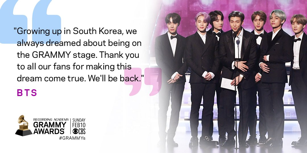 Dreams come true, @BTS_twt!! #GRAMMYs