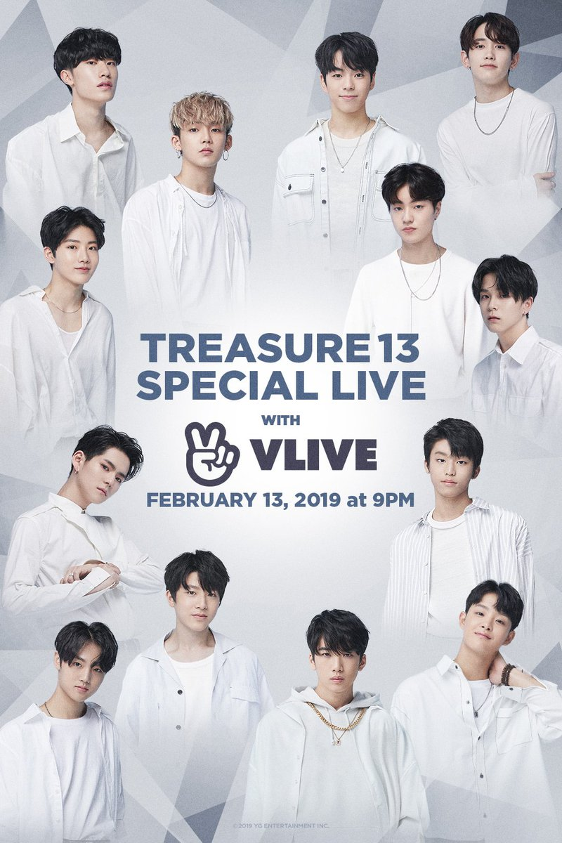 #TREASURE13 SPECIAL LIVE COMING SOON  ✨ 2019. 02. 13 9PM(KST)  🎬 https://t.co/fMaTFdfUbN  #YG_NEW_BOY_GROUP       #트레저13 #SPECIAL_LIVE #20190213_9PM #VLIVE #YG