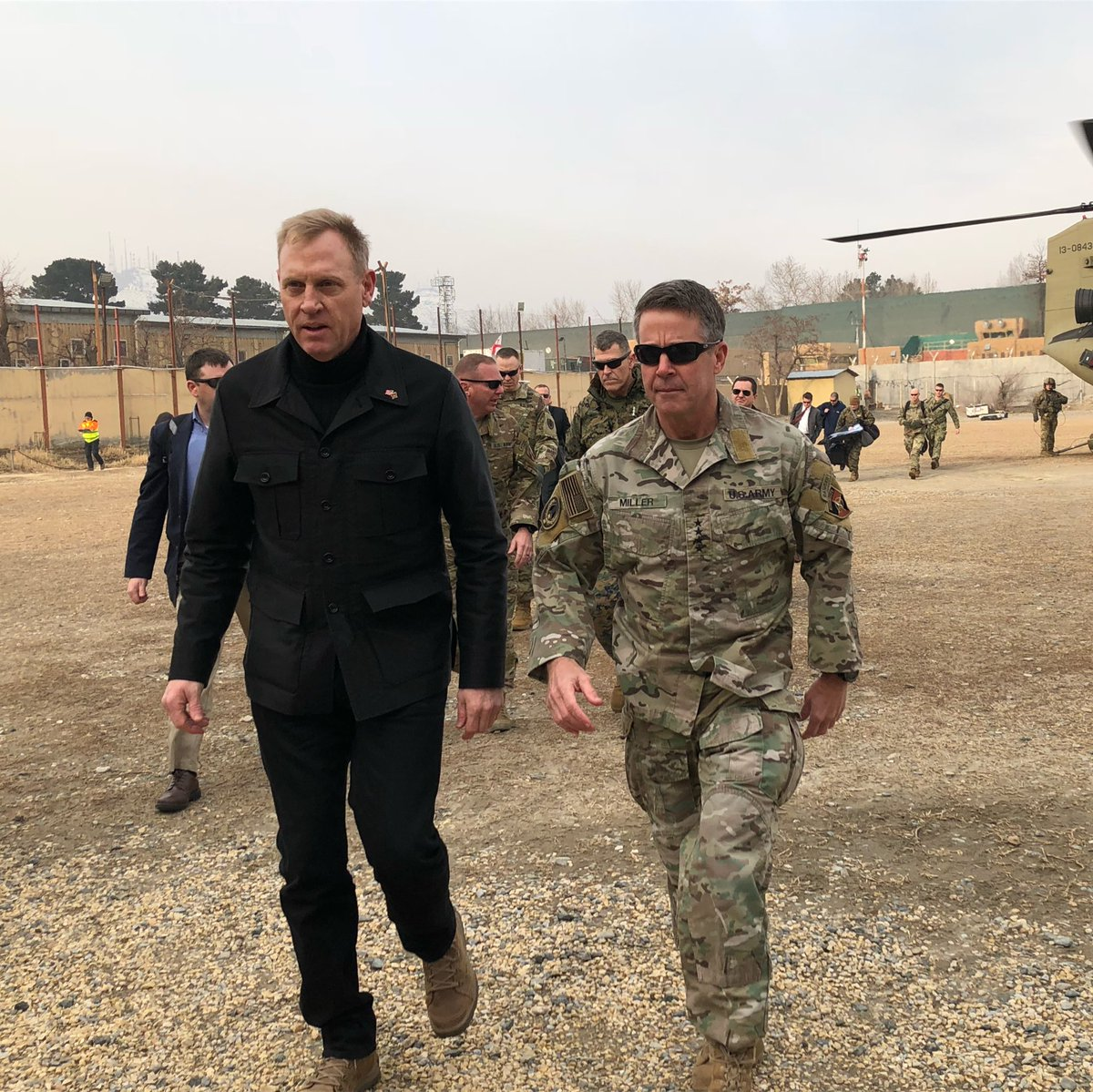 Acting US Def Sec Patrick Shanahan makes unannounced stop in Afghanistan before trip to NATO, Munich. I'm here on behalf of 5 net TV pool