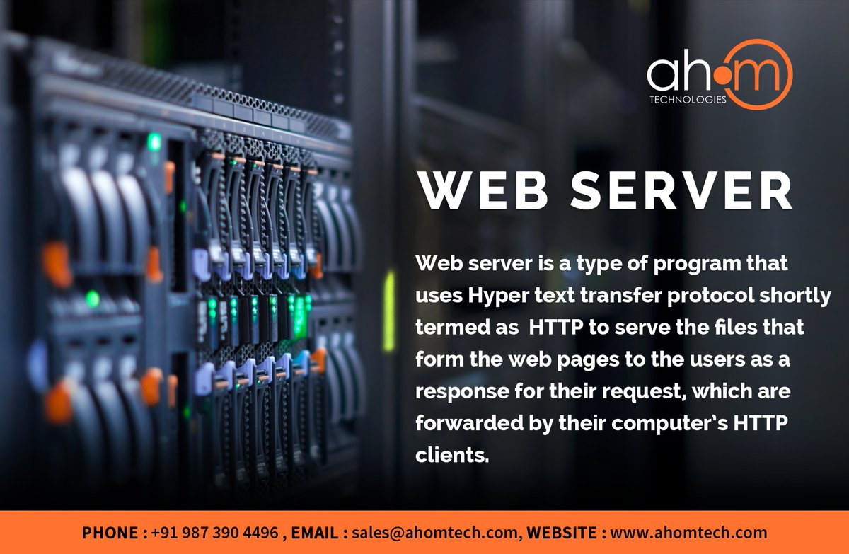 A web server comes as a part of a larger packet of intranet and  internet related programs for serving Email facility, building or  publishing web pages.  Read More at : https://www.ahomtech.com/web-server-services-india/… #WebServer #MicrosoftInternetInformationService #ApacheHTTPServer #Ahom #AhomTech