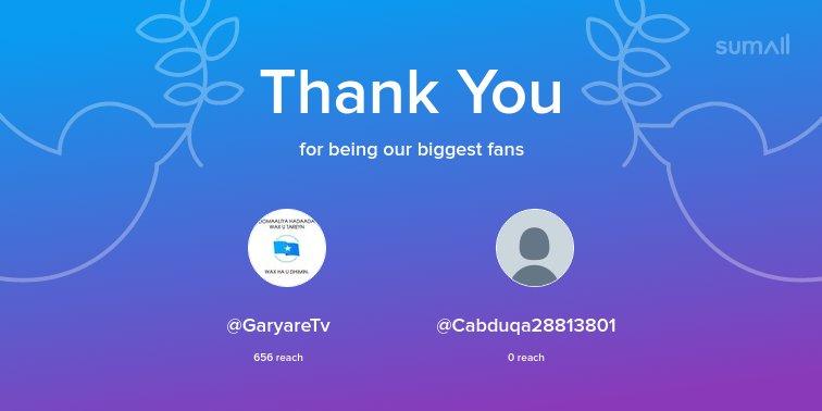 Our biggest fans this week: @GaryareTv, @Cabduqa28813801. Thank you! via https://sumall.com/thankyou?utm_source=twitter&utm_medium=publishing&utm_campaign=thank_you_tweet&utm_content=text_and_media&utm_term=c36e9a4840e4c7aa419fea3c…
