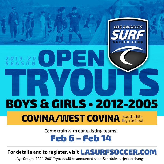 Tryouts at all 3 locations will continue tomorrow.   Follow us on social media @lasurfsoccer for the latest updates and visit our website to register. http://lasurfsoccer.com/tryouts to register for your location.  #Lasurf #tryouts #lasurfsoccer #pomona #pasadena #covina #westcovina