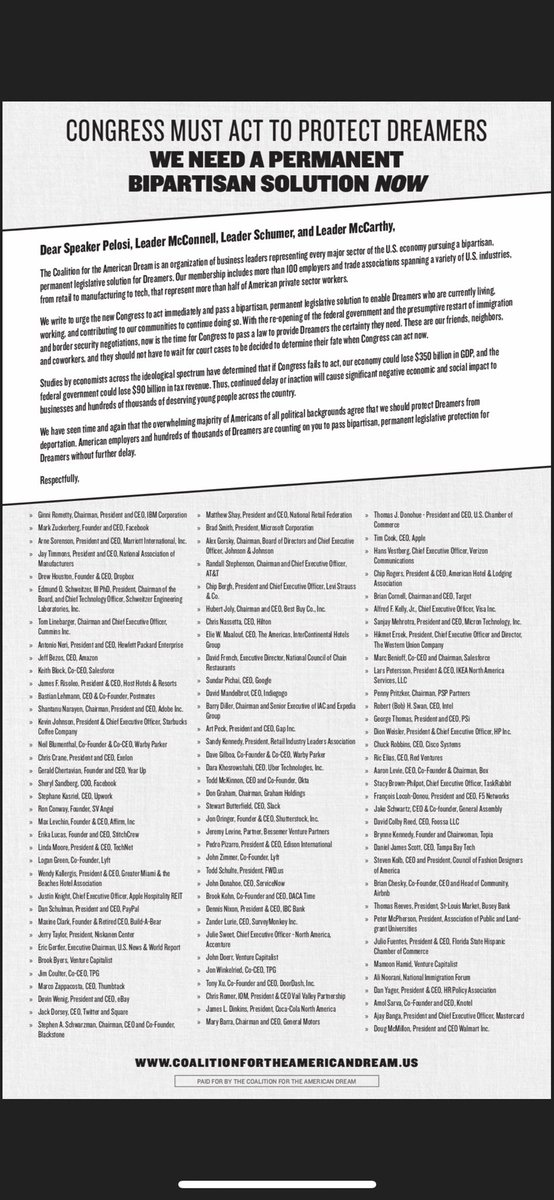 NEW TODAY - 100 CEOs representing every sector of the economy sign letter that is full-page ad in @nytimes calling for permanent protections for Dreamers. Signatories include CEOs of GM, Coca Cola, Apple, Amazon, Walmart, FB, US Chamber, Marriott, Blackstone, NAM, Google & more.
