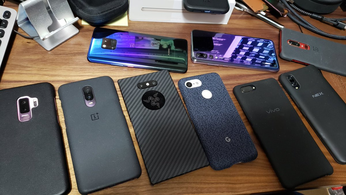 I think it&#39;s time to thin the herd and make room for 2019 devices.  Pictured here: - Samsung Galaxy S9+ - OnePlus 6T - Razer Phone 2 - Huawei Mate 20 Pro - Huawei P20 Pro - Google Pixel 3 - Vivo X20 Plus UD - Vivo NEX S - OnePlus 6 <br>http://pic.twitter.com/ol8RPiMpAB
