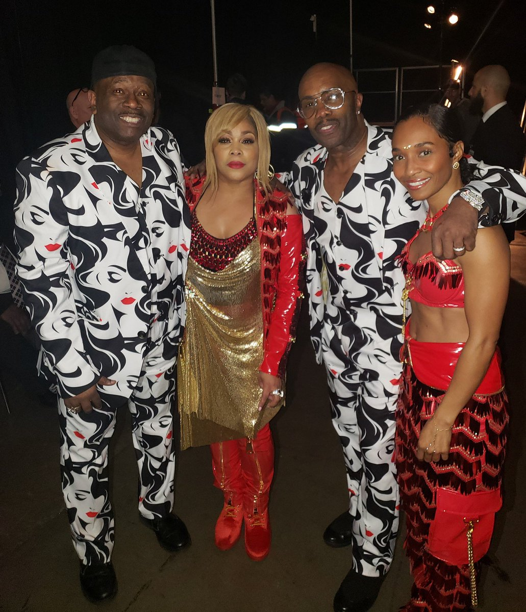 On the Passenger Side Of Your Best Friend's Ride at the Grammys: TBoz & Chilli of TLC with Bowlegged Lou & Paul Anthony of Full Force. #Grammy2019 #GRAMMYs