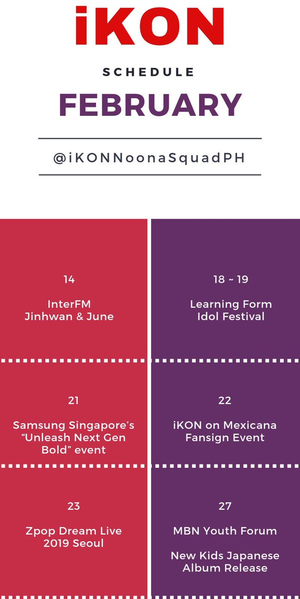 Hi iKONICS,  Here's the full list of @YG_iKONIC confirmed schedule for the month of February as of 11th of February.  @YG_iKONIC #iKON<br>http://pic.twitter.com/B4g0jHT884