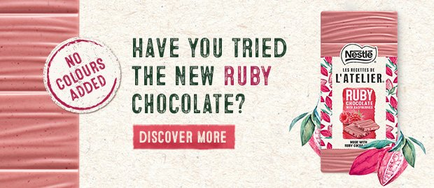 Love is in the air with Les Recettes de l'Atelier! 💕  New Les Recettes de l'Atelier made with Ruby chocolate in time for Valentine's  Find out more: 💟https://bddy.me/2RPz9FS 💟  #RubyChocolate have you tried it yet?   #LoveIsInTheAir #ValentinesDay