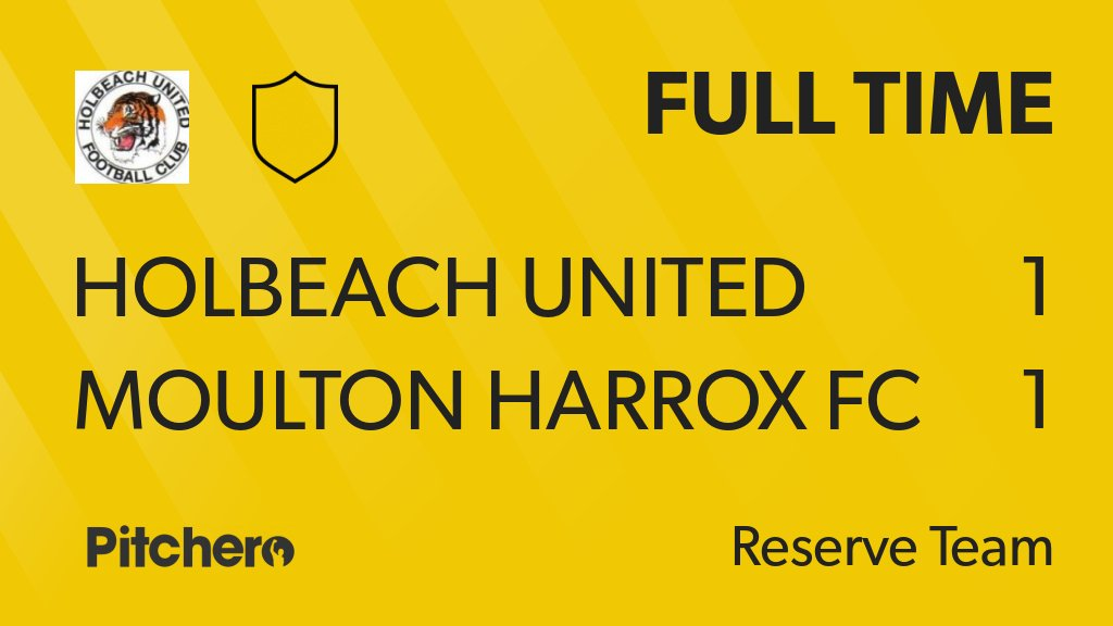 FULL TIME: Holbeach United Reserves 1 - 1 Moulton Harrox FC #HOLMOU #Pitchero http://www.pitchero.com/clubs/holbeachunitedfc/teams/95058/match-centre/1-3790751?utm_campaign=score_update&utm_medium=post&utm_source=twitter&utm_content=FT …