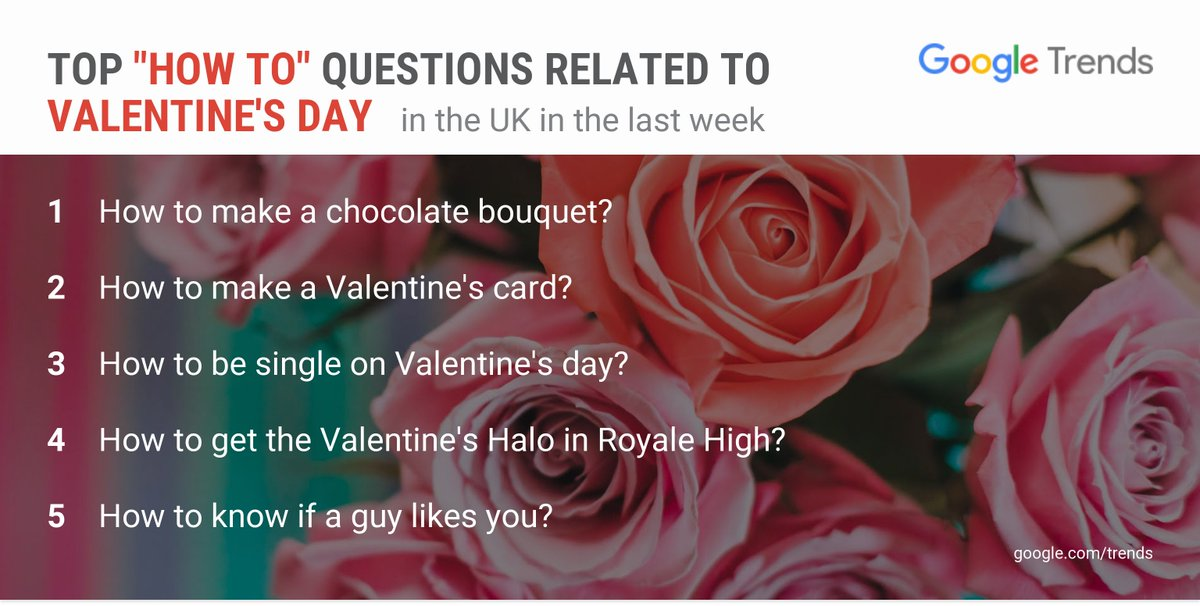 'How to be single on Valentine's day?' is a top question on #ValentinesDay in the UK in the last week.   Explore more love day trends:  https://t.co/B18zgDTDeg