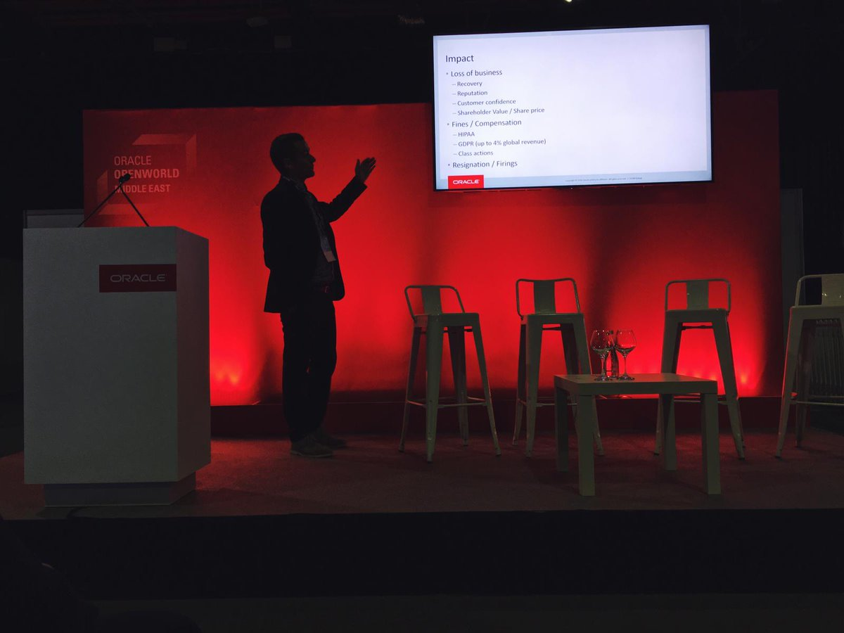 Hacker mindset on! @Oracle's Pedro Lopes is taking us into the mindset of a #cybercriminal for all the right reasons: to learn how to protect our data and mitigate attacks. @oraplopes #OOWDXB <br>http://pic.twitter.com/vyCnmgokga