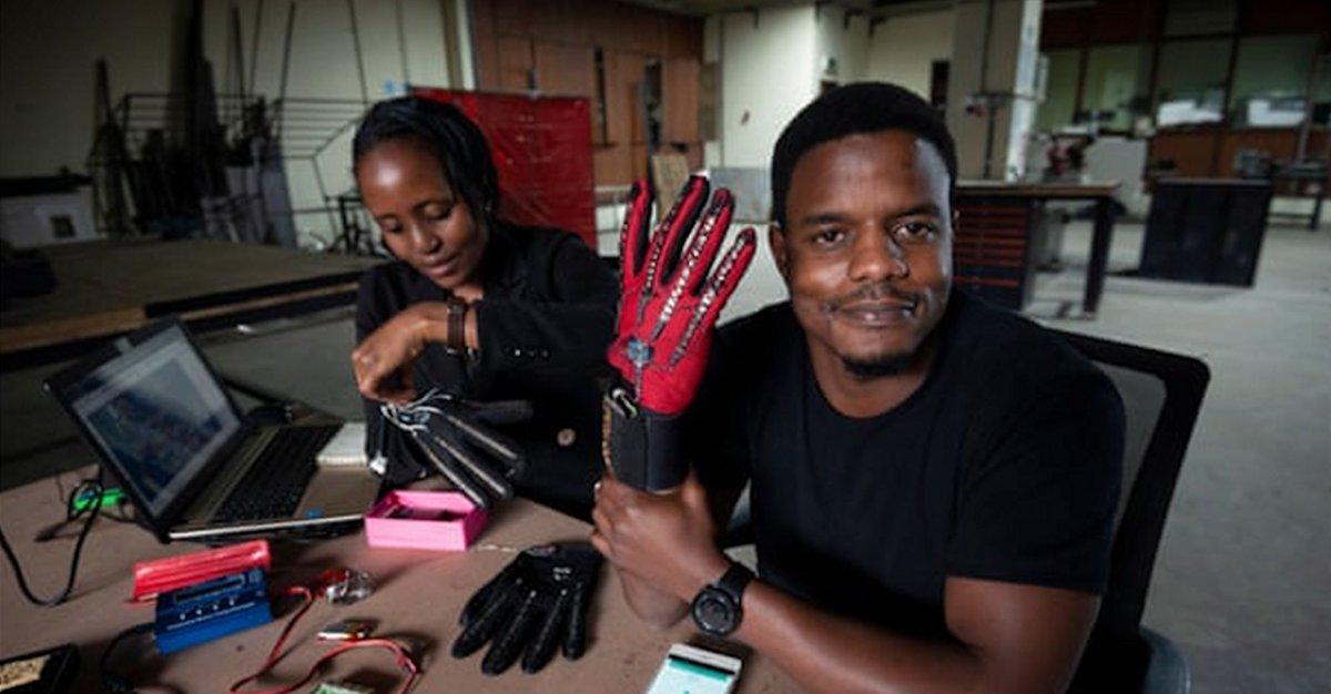 Ce Kenyan de 25 ans a inventé des gants qui convertissent la langue des signes en audio - http://bit.ly/2tiq9z4