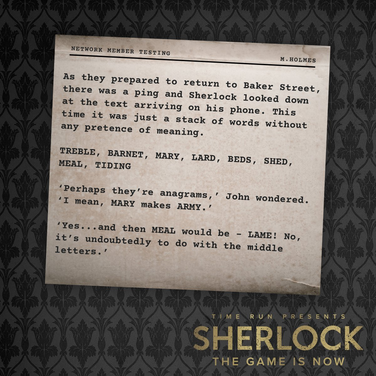 Sherlock: The Game Is Now on Twitter: