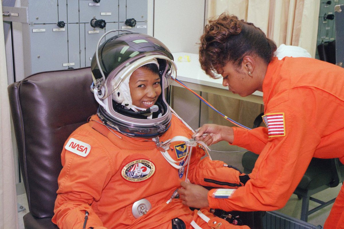 #WomeninSTEM #BHM Shout-out to Mae Jemison, the first African-American woman to travel in space! 🚀