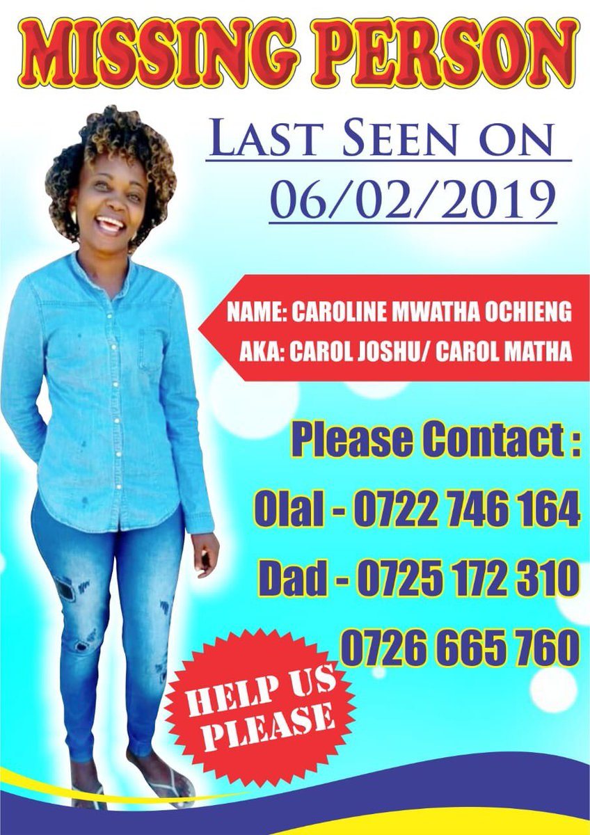 Awful: A founding member of Kenyan org Dandora Community Social Justice Centre, has gone missing. Caroline Mwatha, who was heavily involved in the documentation of extrajudicial killings, has not been seen since last Wednesday.   https://www.the-star.co.ke/news/2019/02/11/police-on-the-spot-over-missing-dandora-activist_c1892512… #FindCarolineMwatha