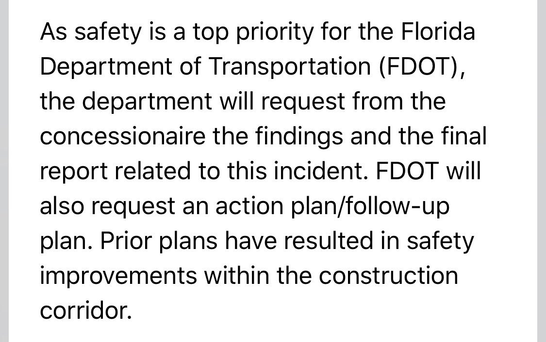 We learned last week, officials from @MyFDOT_CFL will request information from SGL's review and will also ask for a plan to better ensure safety on @I4Ultimate worksites.       More from an FDOT statement: