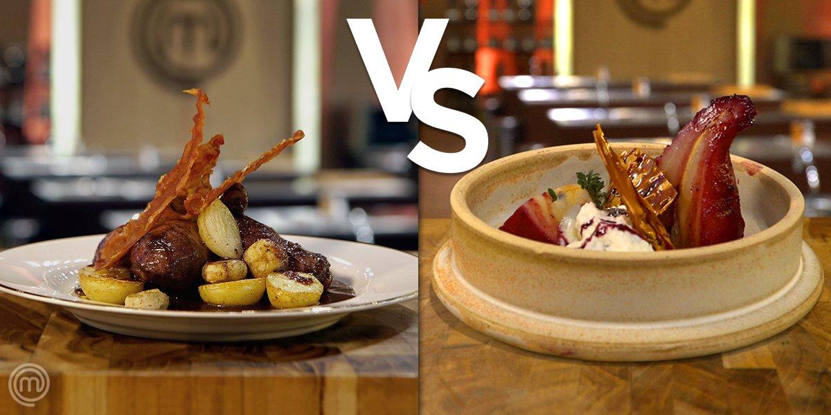 Almoço da segundona com direito a PRATO PRINCIPAL e SOBREMESA! 👏 Hoje você escolheria coq au vin (frango ao vinho)... ou pera ao vinho? 🤔  #MasterChefBR
