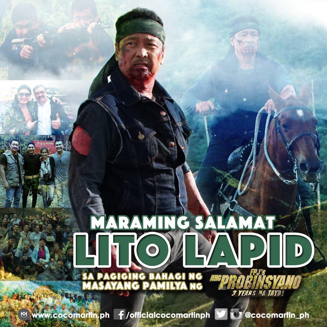 RT @cocomartin_ph: Maraming Salamat, Lito Lapid!  #FPJAP3Pinuno #FPJsAngProbinsyano #Abscbn #B617 https://t.co/1xnffuC8ol