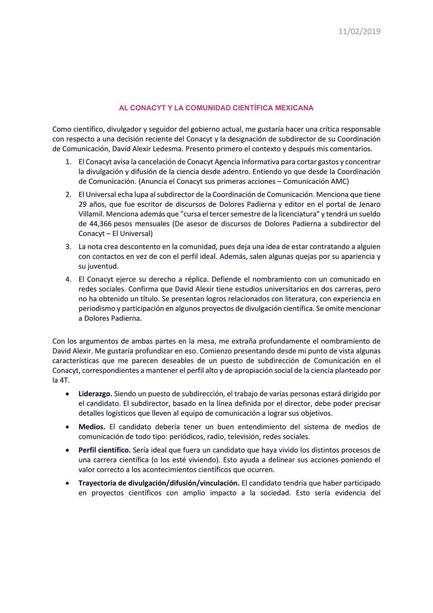 Como científico y con el aprecio que tengo a la #4taTransformacion, presento una crítica bien fundada con respecto al nombramiento de David Alexir como subdirector de la Coord. Comunicación en @Conacyt_MX.  @El_Universal_Mx @ElenaBuylla @julioastillero @Pajaropolitico #Conacyt