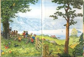 #BookIllustrationOfTheDayBirthday #BookIllustrationOfTheDay Endpapers from the 1973 Rupert Annual by Alfred Bestall. As a child I wanted to be in this picture. I'm now 55. I still want to be in this picture. <br>http://pic.twitter.com/QdTqJUnnkY