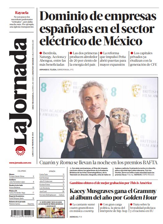 La Jornada Impresa's photo on bafta 2019