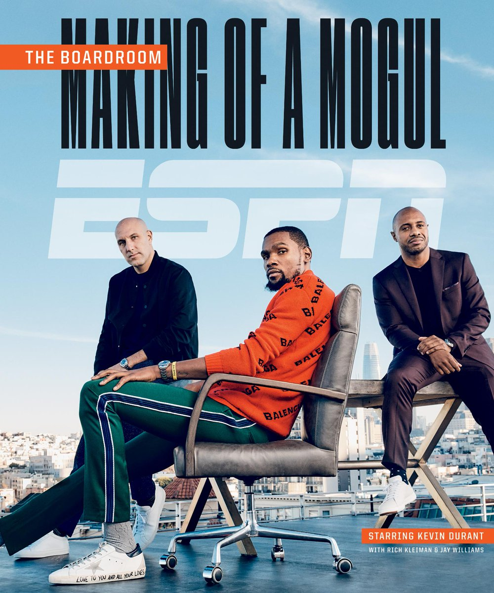 """With """"The Boardroom"""" on ESPN+, @KDTrey5, @RealJayWilliams and @richkleiman explore the changing culture of sports.  But that isn't the only way Kevin Durant has made himself into a mogul: https://es.pn/2WYFbaK"""