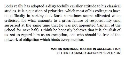Eton College writes to Boris Johnson's dad in 1982