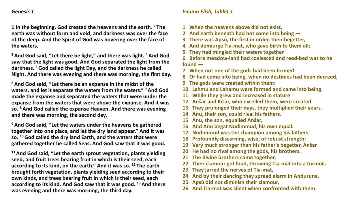 If someone tells you stories in the Bible are borrowed mythology, check for yourself to see if it's true. I was told Genesis copied the Babylonian creation story. Comparing them side by side, it's obvious this is bogus - any similarities are far outweighed by differences.