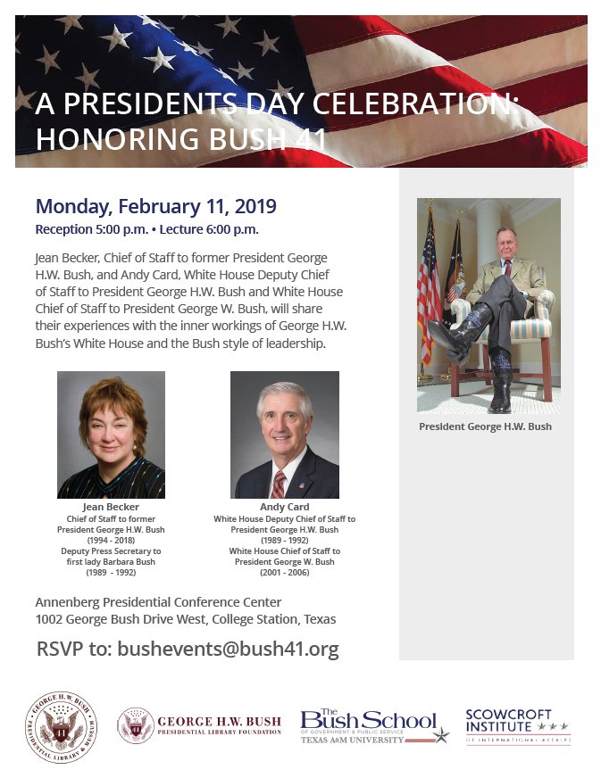 Join us + @BushSchool + @Bush41 + @Bush41Library tonight i in honoring the life of President George H.W. Bush with a program featuring a panel with Jean Becker  +  Andrew Card. Event details: http://ow.ly/s1Fi50kIIw9 . #PresidentsDay #Bush41