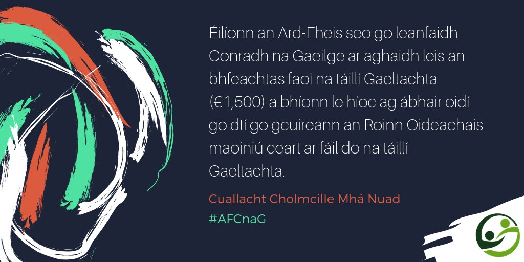 Rún molta ag @CuallachtMaNuad go dtacóidh #CnaG le mic léinn tríú leibhéil go dtí go mbeidh maoiniú curtha ar fáil do bhunmhúinteoirí faoi oiliúint le costais na dtáillí Gaeltachta a chlúdach. #AFCnaG