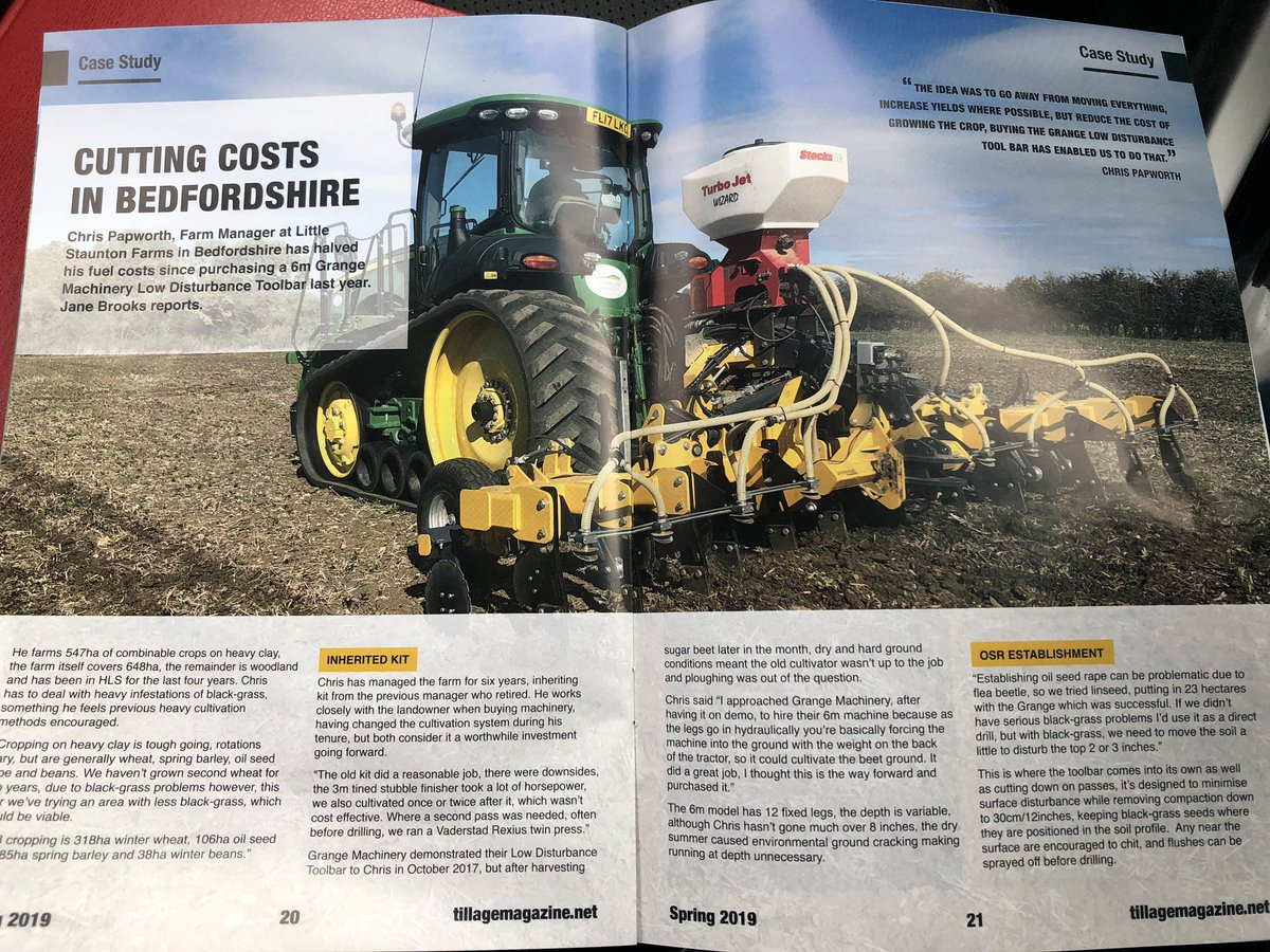Very pleased to have a great case study written on a highly valued 6m LDT customer with regards to cutting establishment costs down in @TillageSoils Magazine, Spring Edition. Great Read! #tillageandsoils #costcuttingkit