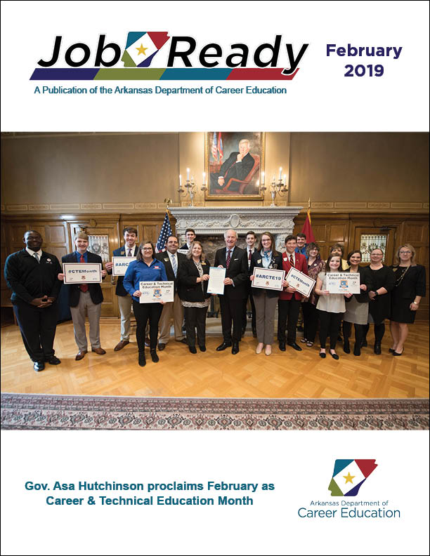 Did you see that JAG student on the cover of JobReady? Aumri (far left) & the PBL team from Parkview HS @lrsd won first place at national JAG competition! And this month they got to meet the Governor @AsaHutchinson. JAG takes you places!