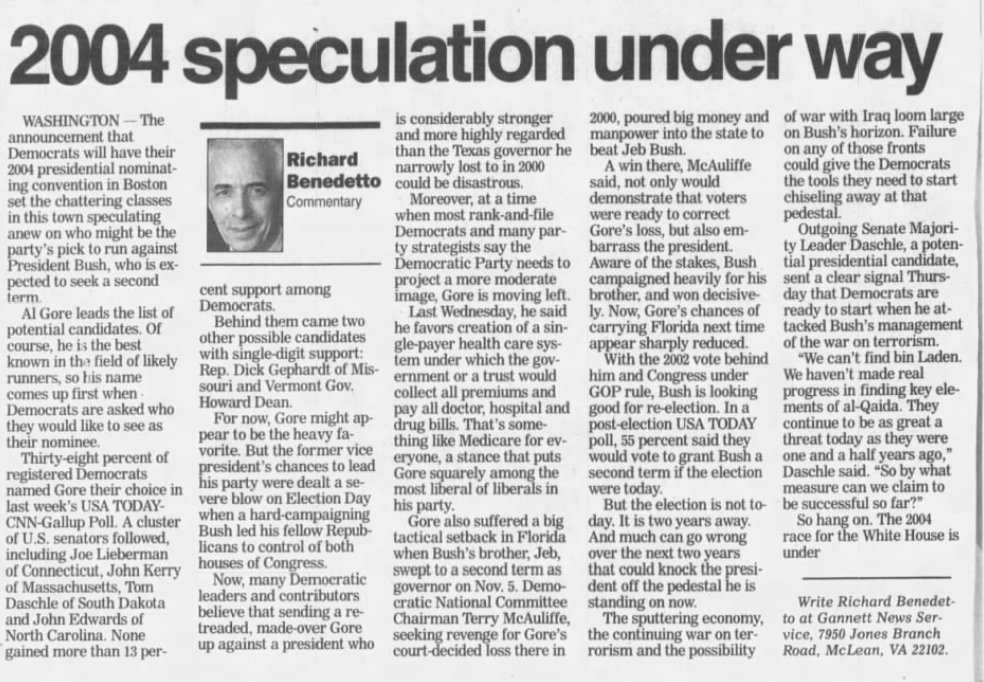 """November 20, 2002: With polls showing Gore far ahead of field, """"[m]any Democratic leaders and contributors believe that sending a retreaded, made-over Gore...could be disastrous"""""""
