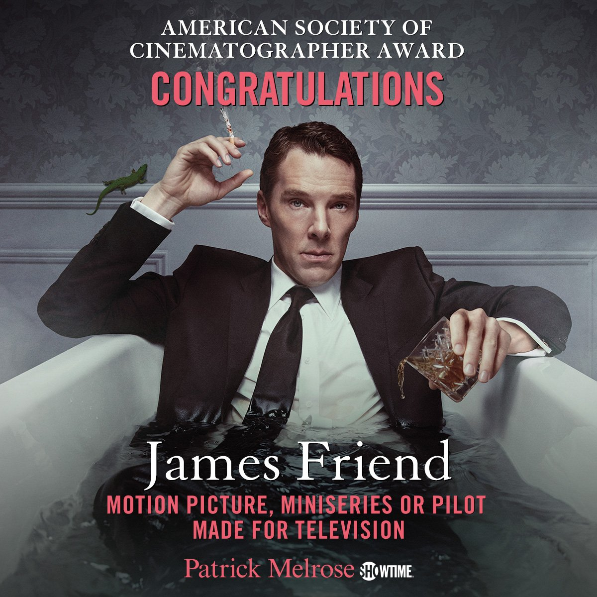 Showtime: Congratulations to cinematographer James Friend on his #ASC Award for #PatrickMelrose e...
