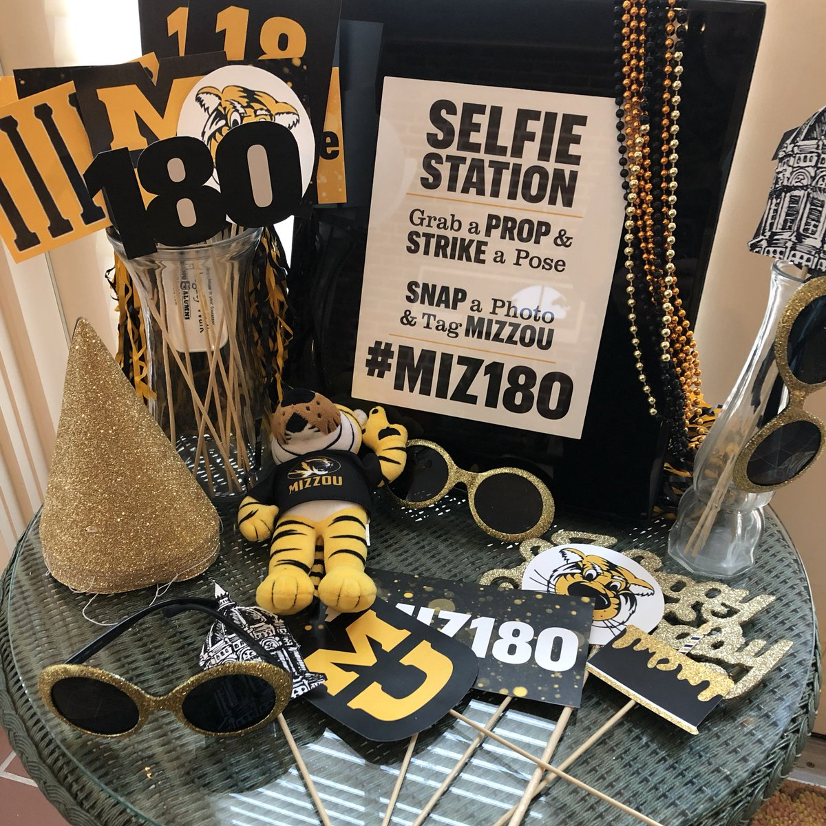 A Selfie Station With Mizzou Decorations