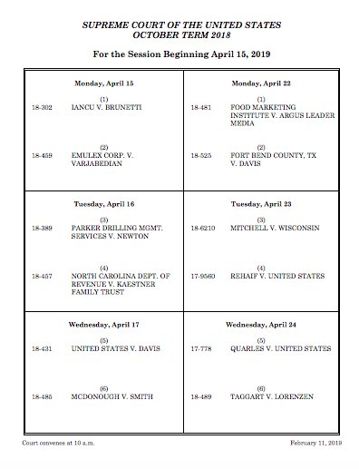 Here's the calendar for the April Supreme Court sitting, the last scheduled one of the term.  If the court takes the census case, it may be argued in the afternoon or in May.