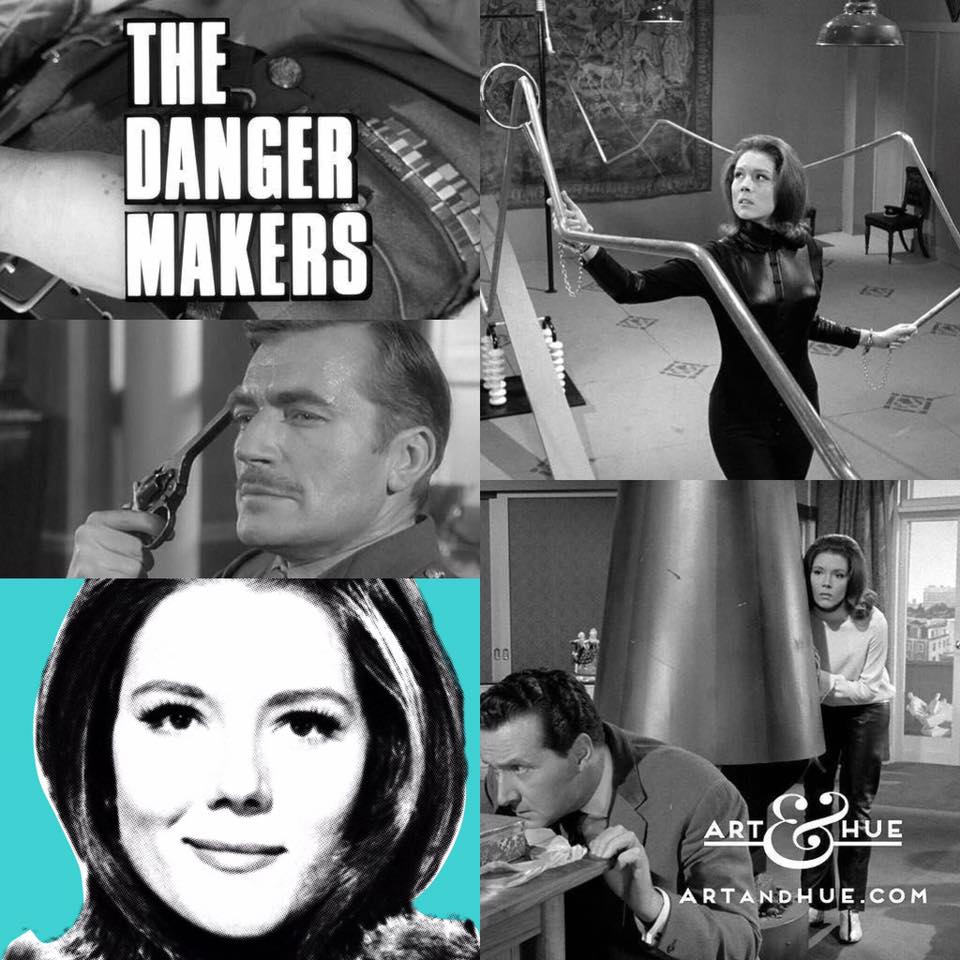 """On this day in 1966, The Avengers episode """"The Danger Makers"""" aired on British TV for the first time.   http://artandhue.com/theavengers   #dianarigg #mrspeel #patrickmacnee #johnsteed #MadeAtElstree #OnThisDay #OTD #TheAvengers #chapeaumelonetbottesdecuir TheDangerMakers #NigelDavenport"""