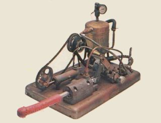 The Manipulator, one of the world's first mechanical vibrators, was invented in 1869 and ran on steam.  The large machine hid its engine in another room, with the apparatus sticking through the wall... and a person would have to push themselves onto the wall to use it.