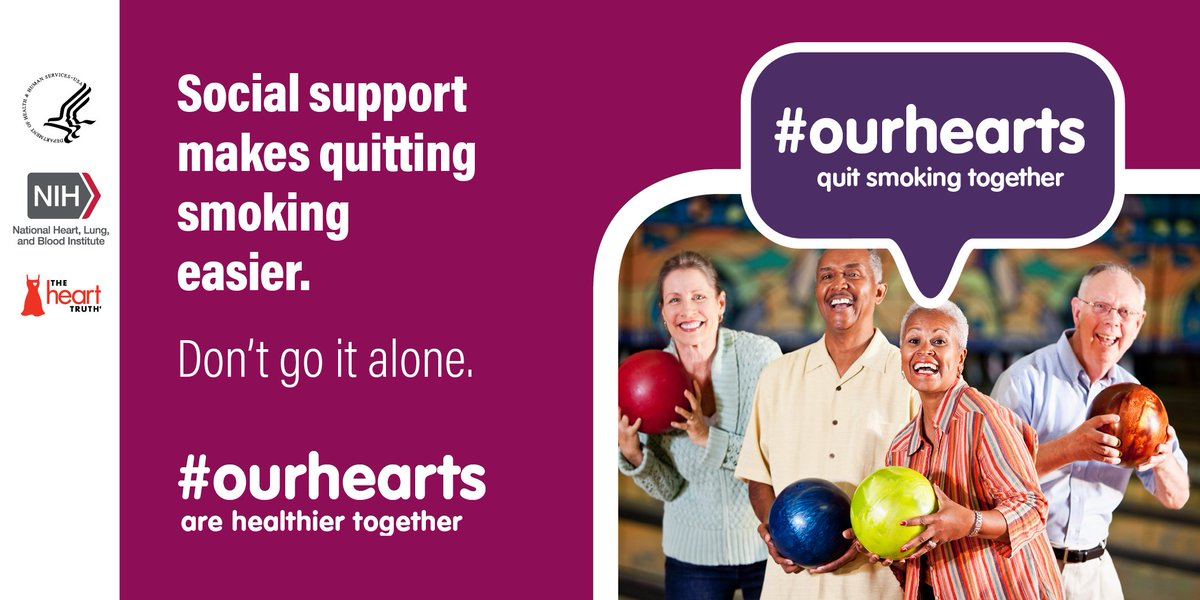 A6: Don't go it alone. Social support makes quitting smoking easier. #OurHearts #HHSHeartChat