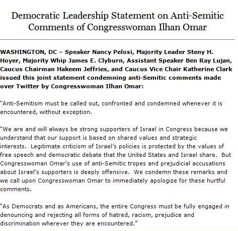 Anti-Semitism must be called out, confronted, and condemned whenever it is encountered, without exception. Read my statement with House Democratic leadership on the comments of Congresswoman Ilhan Omar: http://bit.ly/2WWW1aj