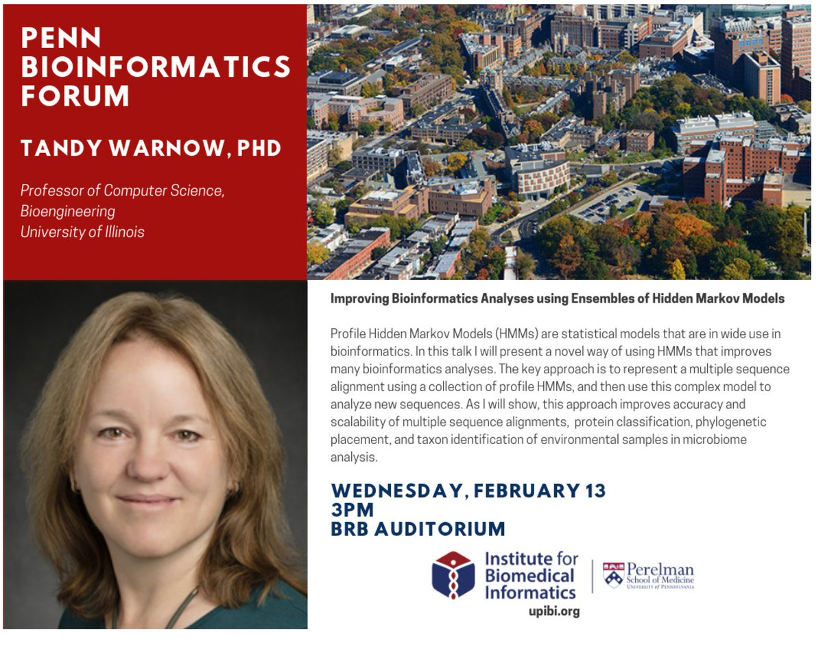 test Twitter Media - Looking forward to a very exciting talk on phylogenomics by Dr. Tandy Warnow this week's speaker of the @UPennIBI Penn Bioinformatics Forum on Wed at 3pm. https://t.co/2XTvhEMY7q