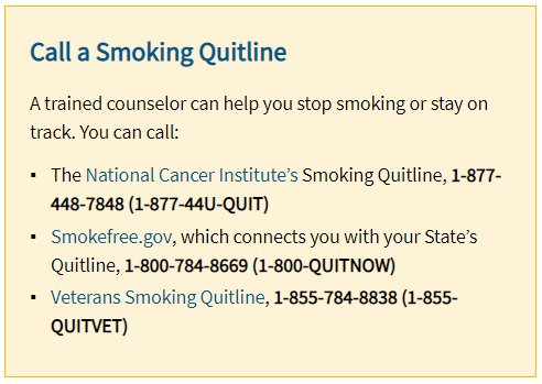 A6: Try calling a smoking quitline to help you stay on track. https://t.co/PkA0MatDAl #HHSHeartChat