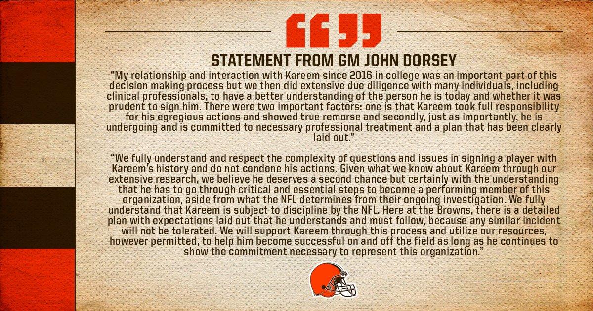 Statement from GM John Dorsey: https://t.co/TUgoBalvkg