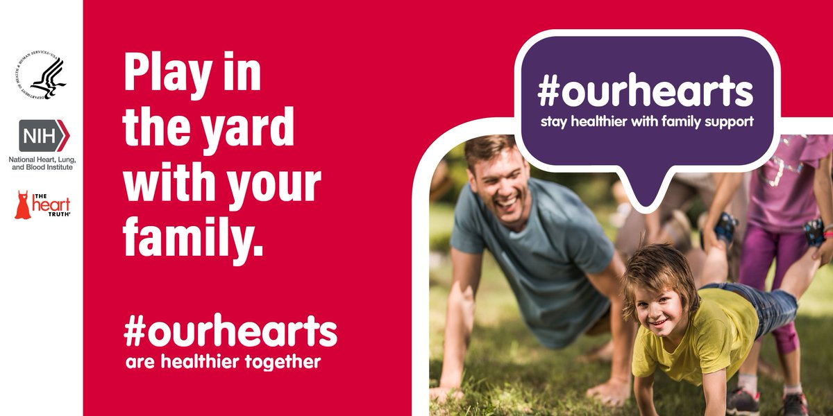 A7: Playing in the yard with family for at least 30 minutes a day can keep #OurHearts healthy. #HHSHeartChat
