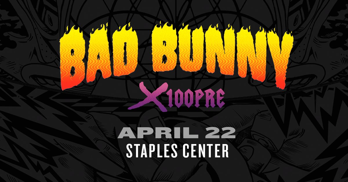 Just Announced! Bad Bunny will be at STAPLES Center on April 22! Tickets go on sale this Friday, February 15 at 10am! <br>http://pic.twitter.com/7bsQE7HY2m