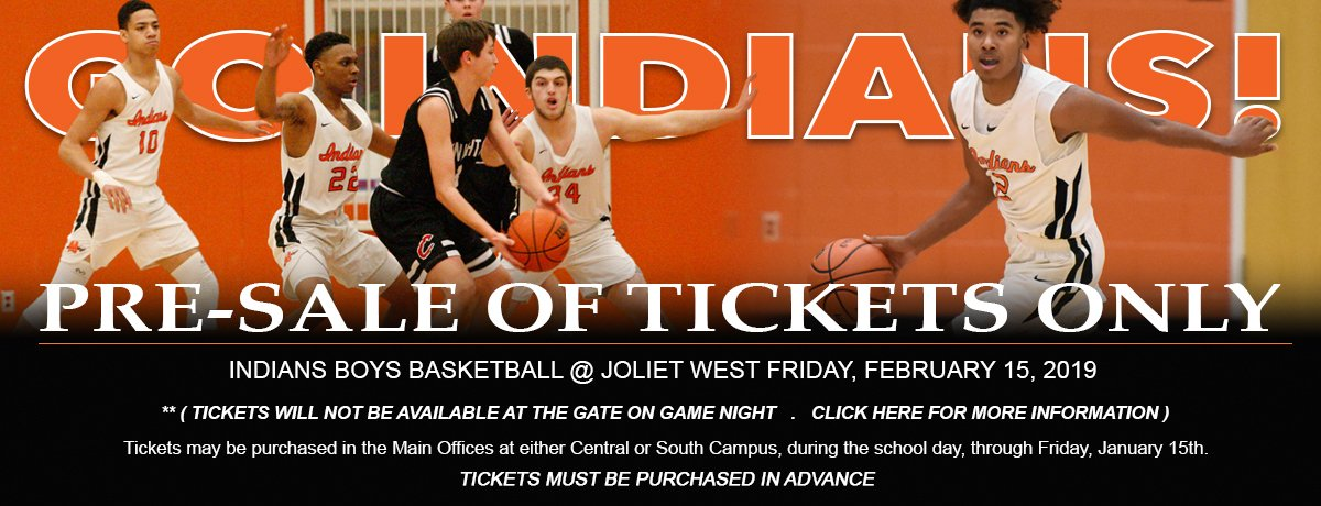 "Basketball Fans... Pre-Sale Tickets Only! The Boys Basketball Game for Friday, February 15, 2019 at Joliet ""WEST"" will be Pre-Sale Tickets Only. Tickets must be purchased in advance. Please visit: http://minookaathletics.weebly.com/    for more information."