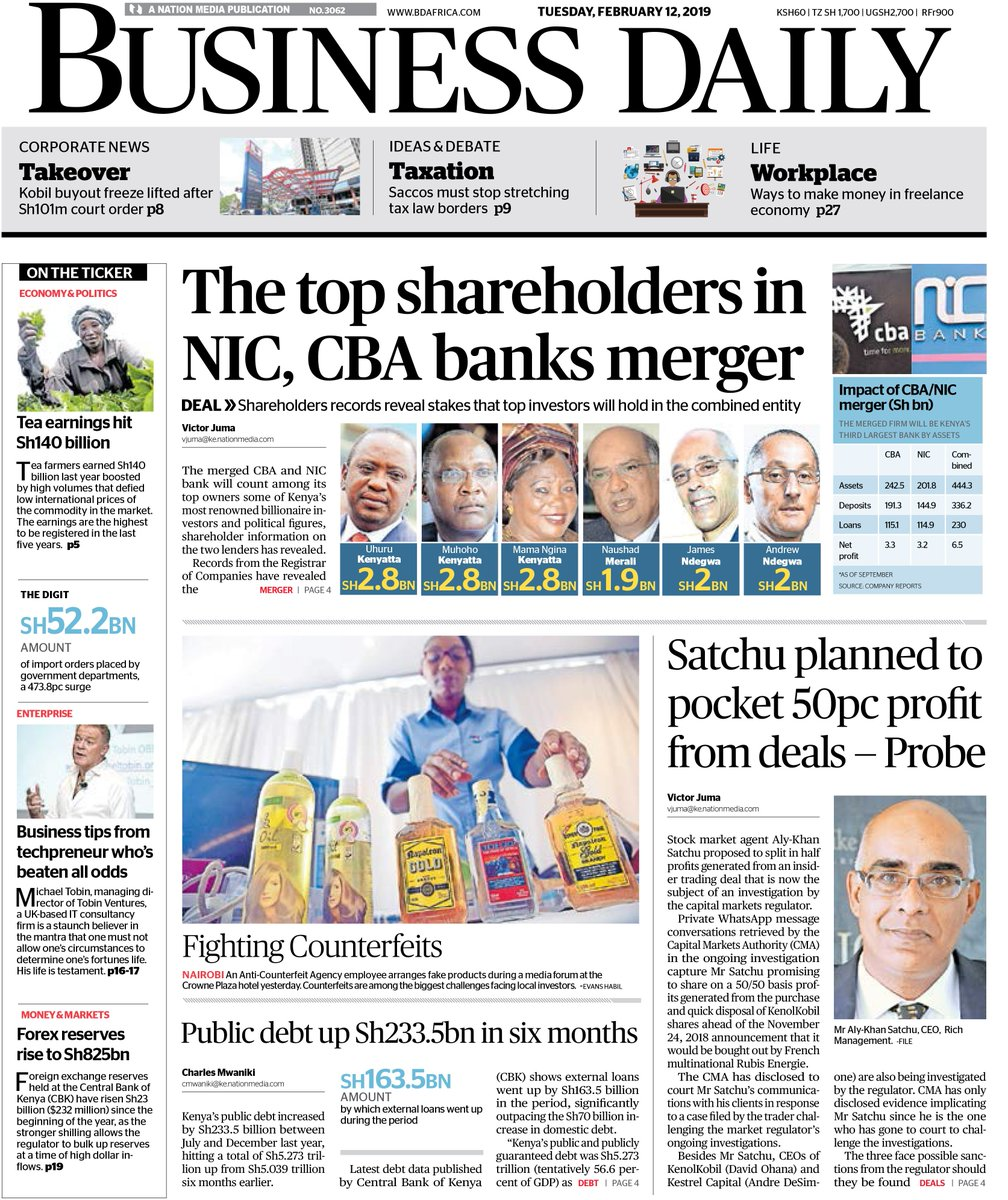 TOP IN BUSINESS: The top shareholders in NIC, CBA banks merger. Get a copy of Tuesday's @BD_Africa to read this and more or log on to http://bdafrica.com .